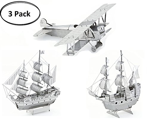 3D Metal Puzzle Models of Fokker D. VII Airplane, Black Pearl Ship and Mayflower Ship - Toy 3D Puzzle – 3 Pack