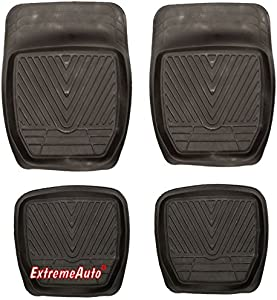 XtremeAuto  Universal Fit Full Set Front  amp  Rear Deep Tray Rubber Car MATS Black Includes XtremeAuto Sticker