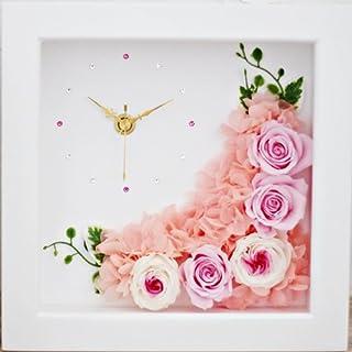 【Eclaire Flower Design】プリザーブドフラワー フラワー時計 シャンパンピンク