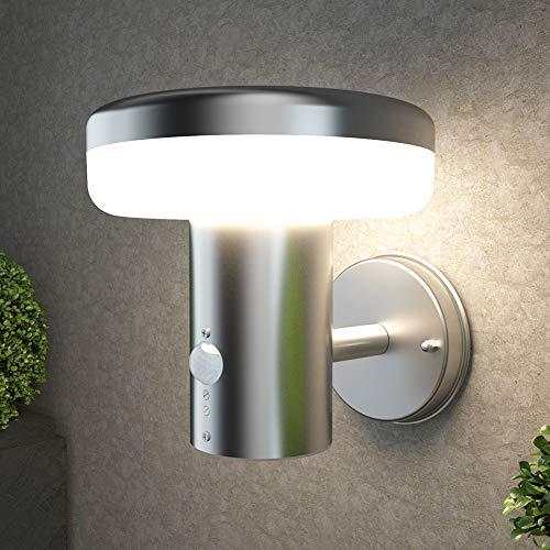 NBHANYUAN Lighting® LED Außenlampe mit Bewegungsmelder Aussenwandleuchten Silber Edelstahl 3000K Warmweiß Licht 220-240V 1000LM 9.5W IP44 (mit PIR Sensor)