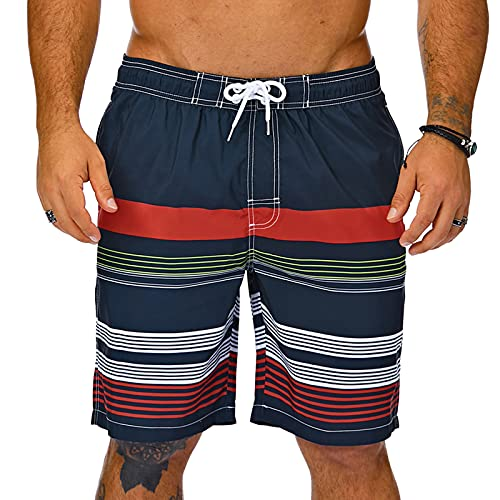KAILUA SURF Mens Swim Trunks Long, Quick Dry Mens Boardshorts, 9 Inches Inseam Mens Bathing Suits with Mesh Lining (Stripes4, L)