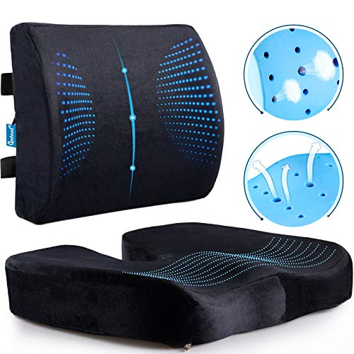 Memory Foam Coccyx Seat Cushion & Lumbar Support Pillow for Office Chair Car...