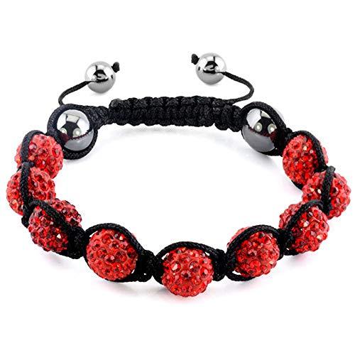 ShinyJewelry Red Disco Ball Bead Adjustable Bracelet for Women Girls