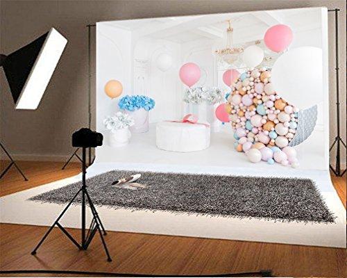 YongFoto 2,2x1,5m Fondos Fotograficos Interior Flores Papel Globos Regalos Droplight Cumpleaños Niña Princesa Fondos para Fotografia Fiesta Niños Boby Boda Retrato Estudio Fotográfico Accesorios