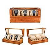 Madera, Reloj de Cuerda automática Almacenes Box, 3 trasteros Reloj de Cuero, los Modos 5 de rotación del Motor Quiet-magnetización Anti, Blanca