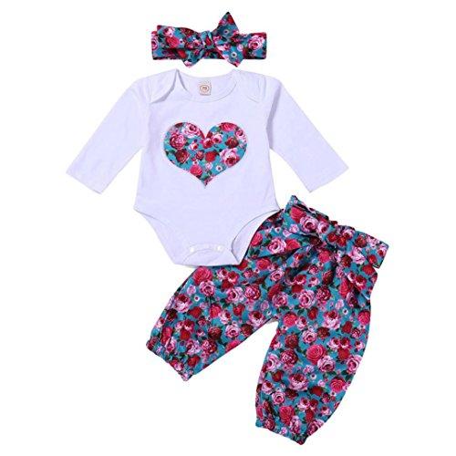 Bebé Mono, ASHOP Recién Nacido Bebé Mono Niña Amor Impresión Romper Manga Larga Bodies Ropa Casual Jumpsuit +1PC Pantalones + 1PC Diadema, 0-24 Meses (70 (0-6meses), Rojo)
