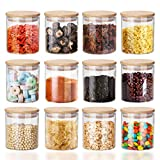 160ml Glass Spice Jars Set 12 Set with Bamboo Lids Silicon Ring, Air Tight Kitchen Canister Set Glass Storage Jars for Jam Tea Coffee Beans Cookie Snack Flour