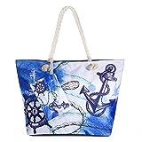 Vordas Strandtasche mit Reißverschluss XXL, Strandtasche XXL mit Reißverschluss und Innentasche für Reise, Kaufen, Ausflug usw. (Style 12)