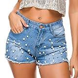 ZHBSS Europäische und amerikanische Jeansshorts, Hotpants, ultrakurze Nachtclub-Damenbekleidung, sexy, hoch taillierte Nagelperlen-Pailletten im Stil M hellblau