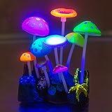 Govine Decoraciones de acuario, decoraciones de plástico de hongos artificiales brillantes para decoración de peceras.