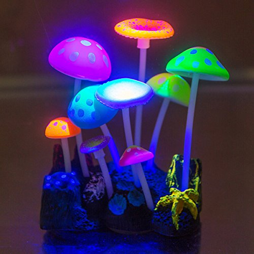 Govine Aquarium Decorations,Glowing Artificial Mushroom, Plastic Aquarium Ornament Decorations for Fish Tank Decorations