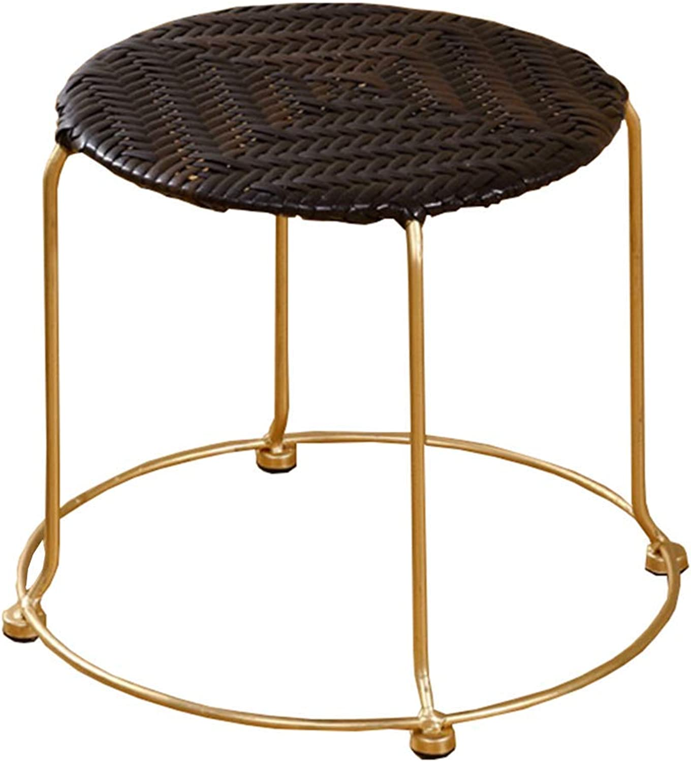 BBG Fashion Creative Small Furniture Anti-Slip Stool Light and Practical Plastic Rattan Small Round Stool Stackable Household Table Stool for shoes Bench Multifunction Household Creative
