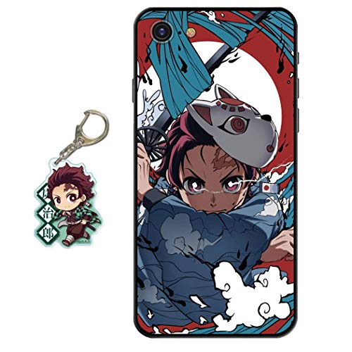 Compatible with iPhone 6 Plus/iPhone 6s Plus Case Anime Design [with Tanjirou Figure Keychain], Soft Silicone TPU Animation Cool Phone Case for iPhone 6 Plus/iPhone 6s Plus