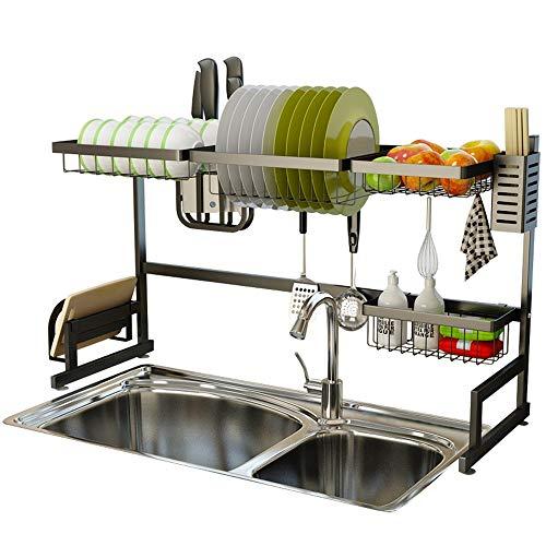 Küchengeschirrkorb Edelstahl Abtropfbrett Länge Scalable Besteck Küche Storage Rack   Sink-Rack Black Plate-Rack   Abfluss Rack-Aufsatz- Rice Bowl-Rack Einstellbare L87 × H52 × W32cm mwsoz