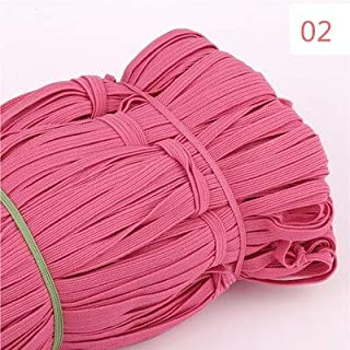 TMYQM 6mm Colorful Flat Elastic Bands High Elastic Rope Rubber Band Spandex Ribbon Sewing Trim Waist Belt Band Garment Accessory 5M (Color : 02 Watermelon red, Size : 5Meters)