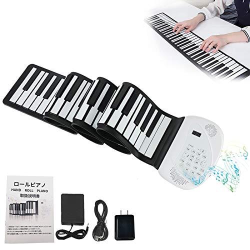 ロールピアノ 88鍵盤 電子ピアノ 日本語パネル 128種類音色 88デモン曲 Bluetooth機能 100リズム USB充電 スピーカー内蔵 キーボード 楽器 初心者 練習 日本語説明書付き