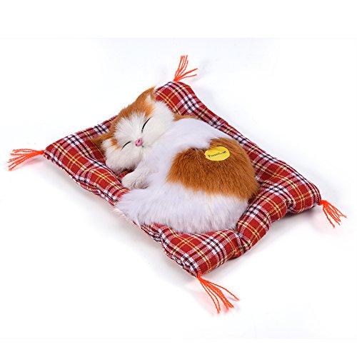 Zerodis Entzückende schlafende Katze mit weichem Mattenbett und simuliertem Ton angefüllte Plüschspielwaren das meiste populäre Feriengeschenk für Vorschuljungen und Mädchen(Gelb + Weiß)