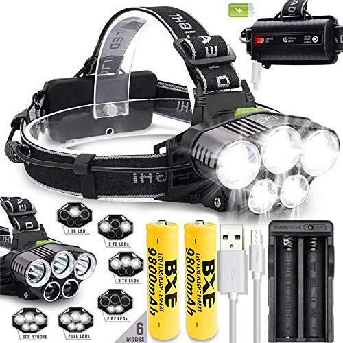 Rechargeable 5000LM T6 LED Headlamp Head Light Torch Lamp Charger With 2x18650 9800mAh Batteries