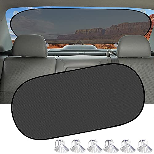 IC ICLOVER Car Sun Shade, UV Protection Folding Auto Rear Window Sunshade, 39 x 20 Inch Universal Mesh Back Window Visor with Suction Cups for Children