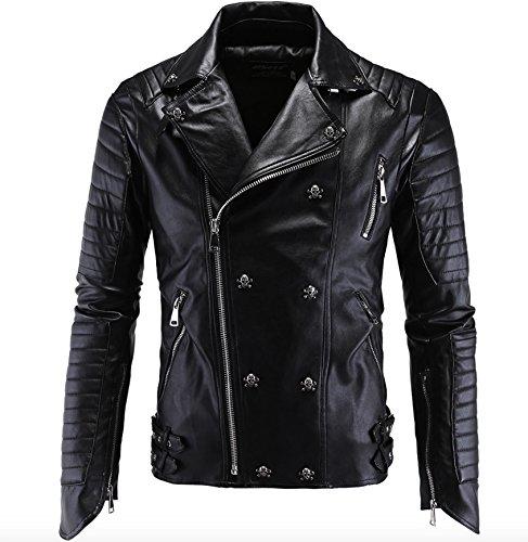 Jaqueta masculina de couro sintético WSLCN para motociclista com crânio rebitado, Preto, M