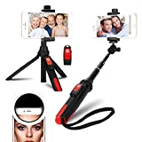 DULAMA Perche Selfie Trépied Bluetooth avec Télécommande 360° Selfie Stick Monopode Extensible de Anneau Lumière 36 LED Poche pour iPhone XS/XR/XS MAX/X/iPhone 8/7 Plus/Samsung Galaxy S9/S8 Plus