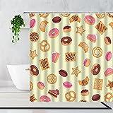 KUNLHF DuschvorhangFarbe Donut Duschvorhänge Candy Muster Restaurant Dekor Stoff Vorhang Badezimmer Wasserdicht Badewanne Display Polyester Mit Haken