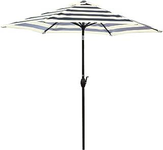 Abba Patio 9-Feet Round Market Table Umbrella with Push Button Tilt and Crank Lift, Black Striped