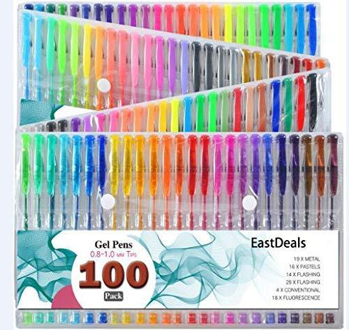 100 Gel Pens , Glitter, Metallic, Neon Glitter, Special, Neon, Swirl Milky & Classics.para Escritura de Dibujo,Suministros de Arte y Estudiantes, Escritura Suave, Sin Olor y no Tóxicos