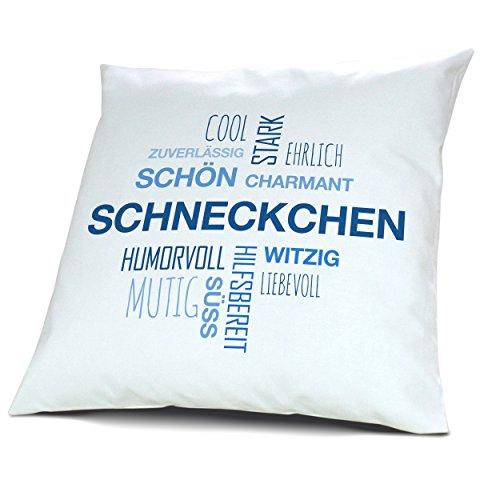printplanet Kopfkissen mit Namen Schneckchen - Motiv Positive Eigenschaften Tagcloud Blau, 40 cm, 100% Baumwolle, Kuschelkissen, Liebeskissen, Namenskissen, Geschenkidee