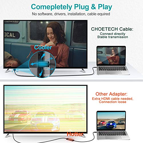 CHOETECH USB C auf HDMI Kabel(4K@60Hz), 1.8m Typ C auf HDMI Kabel(Thunderbolt 3 Kompatibel)für iPad Pro,MacBook Air/MacBook Pro 2020/2019,Dell XPS,Galaxy S20/S10/Note 10,Huawei P40/P30/P20/Mate 30 Pro