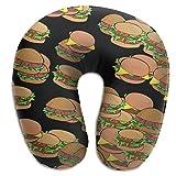 Hdadwy Almohada de Viaje/Almohada para el Cuello Funda Lavable Burger Almohada de Espuma viscoelástica en Forma de U