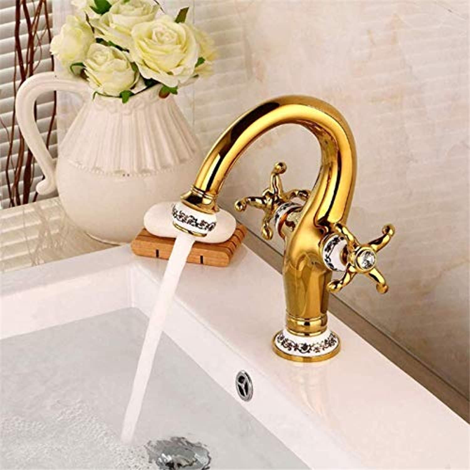Stylish Bathroom Sink Faucet Retro Ceramic Plating gold Mirror Effect Brass Bathroom Faucet Double Handle gold Belt Pattern