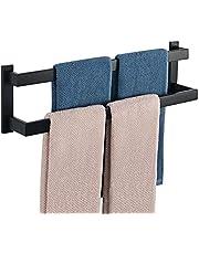 Sayayo Dubbele Handdoek Rail Wandmontage Handdoekhouder voor Badkamer Keuken, SUS304 Roestvrij staal Mat Zwart, EGOY002-B