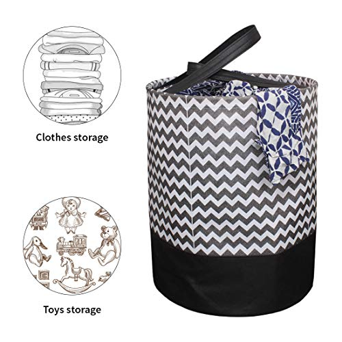 PrettyKrafts Laundry Bag for clothes, Collapsible Laundry storage, Toys Storage, (45 L) (Black and Brown Wave) 3