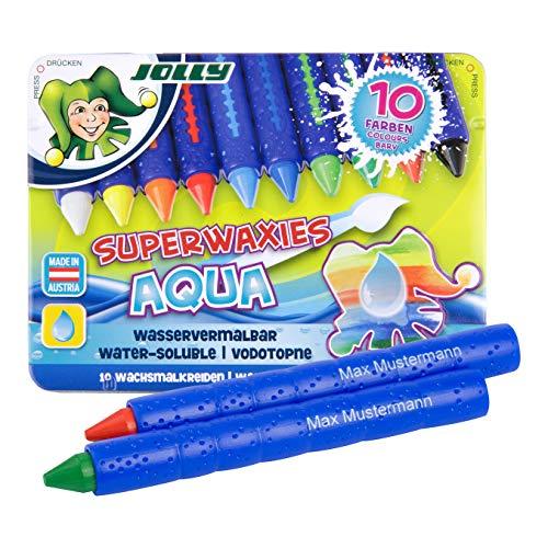 JOLLY Superwachsmalkreiden Aqua | personalisierbar mit eigenem Namen | wasservermalbar