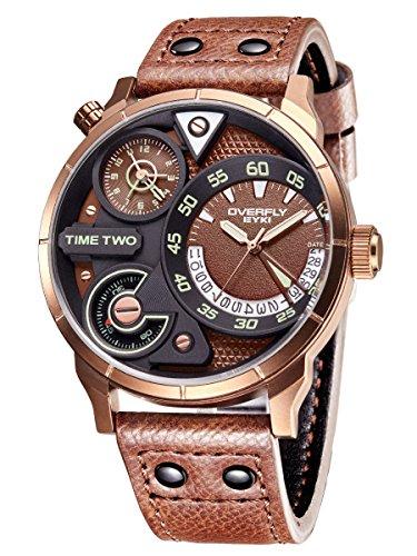 Alienwork Armbanduhr Herren Bronze Lederarmband braun Kalender Datum Multi Zeitzonen XL Große
