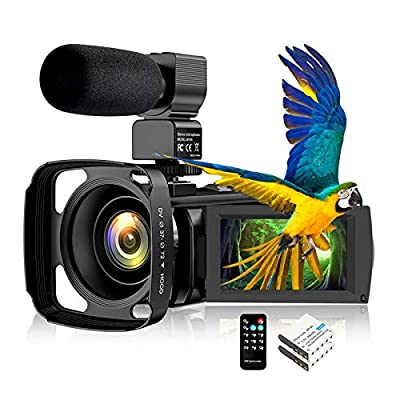 "Video Camera Camcorder IR Night Vision WiFi YouTube Vlogging Camera FHD 1080P 30FPS 26MP 3.0"" Touch Screen 16X Digital Zoom Digital Camera Video Recorder with Microphone Remote Control Lens Hood by Aabeloy"