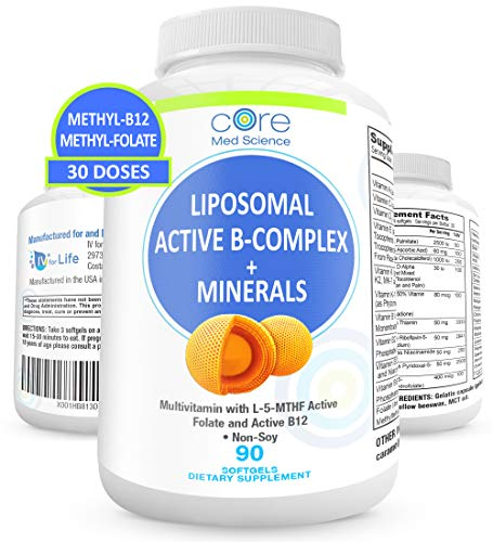 Liposomal Active Methylated B-Complex, Minerals, Antioxidants - Complete Multivitamin with Bioavailable Methylated Folate and B-12 - Non-GMO, Gluten and Soy-Free - Made in USA, 90 Softgels