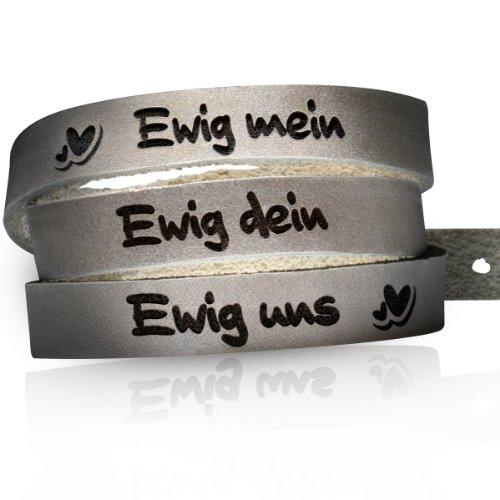 schenkYOU® Wickelarmband in schlammgrau - Echtleder Armband - VORGRAVIERT MIT: Ewig Dein Ewig Mein Ewig Uns