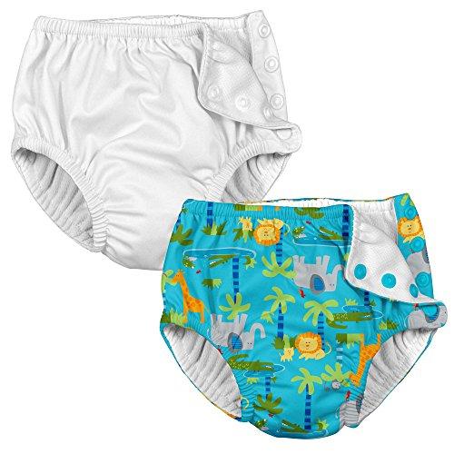i play. 2PK Absorbent Girl Reusable Toddler Swim Diapers White and Aqua Jungle 3T