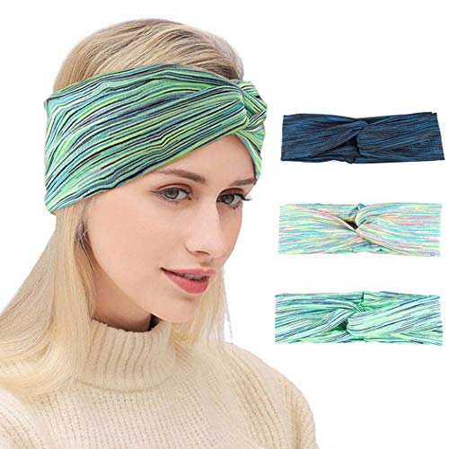 Nicute Boho Criss Cross Headbands Elastic Knotted Head Wraps Green Striped Hair Bands for Women and Girls(Pack of 3)