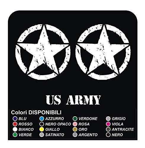 GRAFIC 3 Autocollants cm 20 ÉTOILE + US Army pour Offroad SUV Stickers Decals (Blanc Satin)
