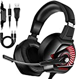 ONIKUMA Gaming Headset-PS4 Headset with Mic, 7.1 Surround Sound & RGB LED Light Xbox One Headset,Gaming headphones PC Headset with Noise Canceling for PS4, PC, Mac, Xbox One (Adapter Not Included)