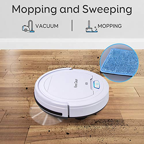 Automatic Mopping Robot Vacuum Cleaner - Robotic Auto Self Navigation Low Profile Home Cleaning Vac Water Tank Mop Attachment - Spot Cleans Hardwood Tile Floor - Pure Clean PUCRC50