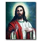 Jesús Dios Cristiano Lienzo Pared Arte Nórdico Estilo Religión Poste Jesús Retrato Pared Pintura Vida Habitación Hogar Cristiano Jesús Cuadro Decoracion 30x40cmx1 No Marco