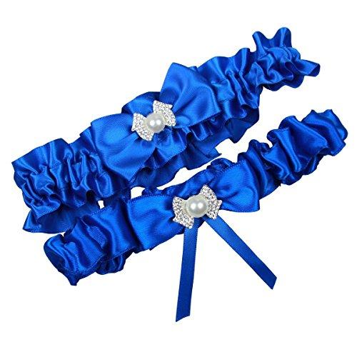 Miranda's Bridal Women's Satin Bridal Garters Wedding Garters with Bow Royal Blue
