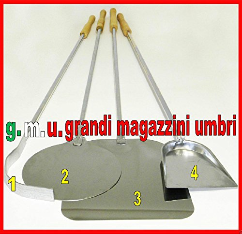 GMU GRANDI MAGAZZINI UMBRI Kit Pale per Pizza Forno A Legna Set Pale per Pizza 4 PZ Set Pala PIZZE Kit Pizzeria Set Forno Pizza