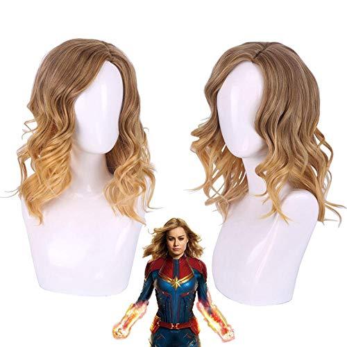 Película Capitán Marvel Coplay Peluca Mujer Carol Danvers Marrón Ombre Rubio Ondulado Pelo sintético Pelucas de disfraces de HalloweenSH-244