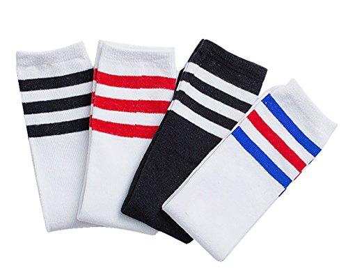 EZSTAX Damen Winter Warme Überknie Strümpfe Baumwollstrümpfe Retro Lange Socken Overknee Sportsocken mit drei Streifen (Kinder)