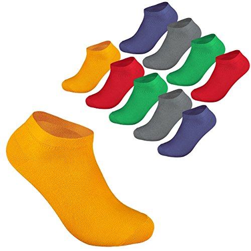 10 Paar Sneaker Socken Damen und Herren Kurzsocken Füßlinge Strümpfe Baumwolle Größe 47-50 in Trendigen Farben OEKO TEX STANDARD